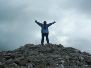 Me on top of Carrowkeel in Ireland, kissing the sky (photo taken by Shelley Leatherwood).